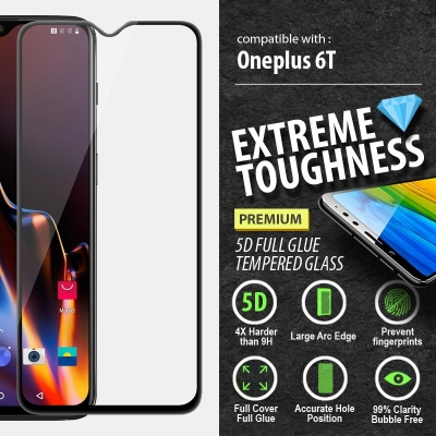 ^ Oneplus 6T - PREMIUM 5D Full Glue Tempered Glass