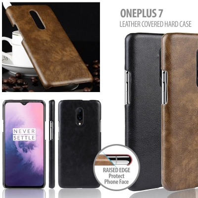 ^ Oneplus 7 - Leather Covered Hard Case