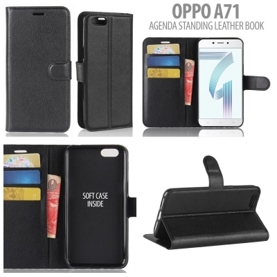 * Oppo A71 - Agenda Standing Leather Book }