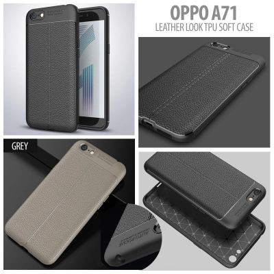 ^ Oppo A71 - Leather Look TPU Soft Case }