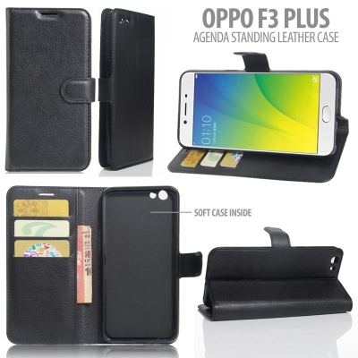 ^ Oppo F3 Plus - Agenda Standing Leather Book }
