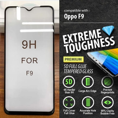 ^ Oppo F9 - PREMIUM 5D Full Glue Tempered Glass