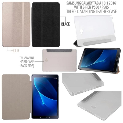 ^ Samsung Galaxy Tab A 10.1 2016 With S Pen P580 P585Y - Tri Fold Standing Leather Case }
