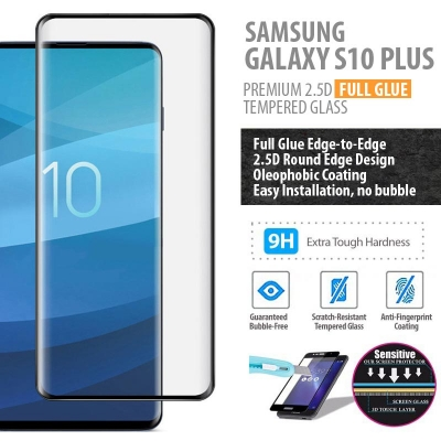 ^ Samsung Galaxy S10 Plus - PREMIUM 3D Curved Full Tempered Glass