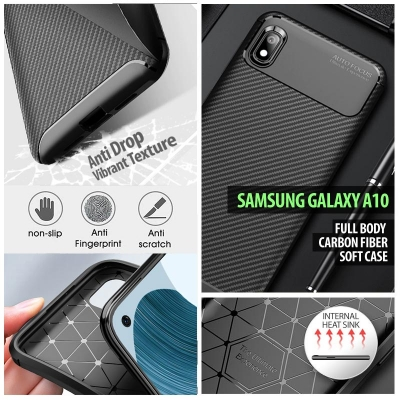 ^ Samsung Galaxy A10 - Full Body Carbon Fiber Soft Case