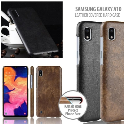 ^ Samsung Galaxy A10 - Leather Covered Hard Case