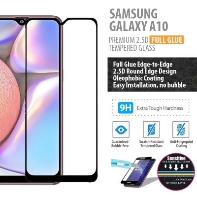 ^ Samsung Galaxy A10 - PREMIUM 2.5D Full Glue Tempered Glass