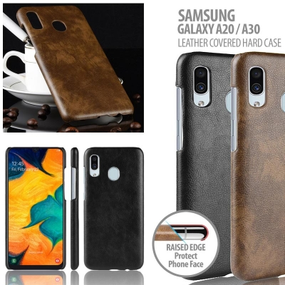 ^ Samsung Galaxy A20 / A30 - Leather Covered Hard Case