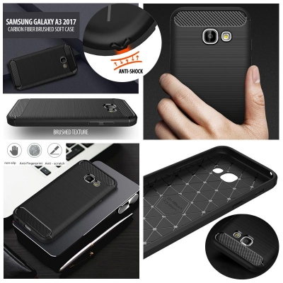 ^ Samsung Galaxy A3 2017 A320F - PREMIUM Carbon Fiber Brushed Soft Case