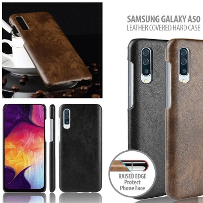 ^ Samsung Galaxy A50 - Leather Covered Hard Case