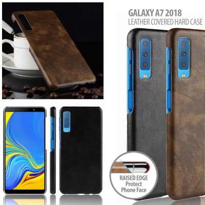 ^ Samsung Galaxy A7 2018 - Leather Covered Hard Case
