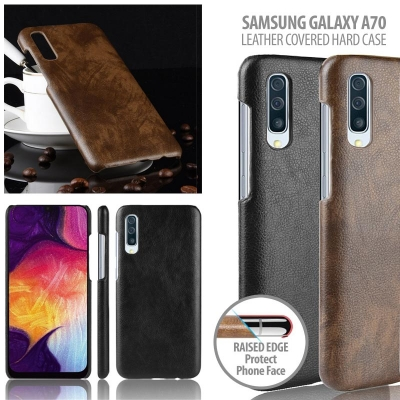 ^ Samsung Galaxy A70 - Leather Covered Hard Case
