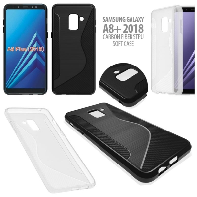 ^ Samsung Galaxy A8+ 2018 - Carbon Fiber STPU Soft Case }
