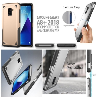 ^ Samsung Galaxy A8+ 2018 - Drop Protection Armor Hard Case }
