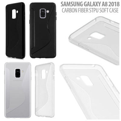 ^ Samsung Galaxy A8 2018 - Carbon Fiber STPU Soft Case }