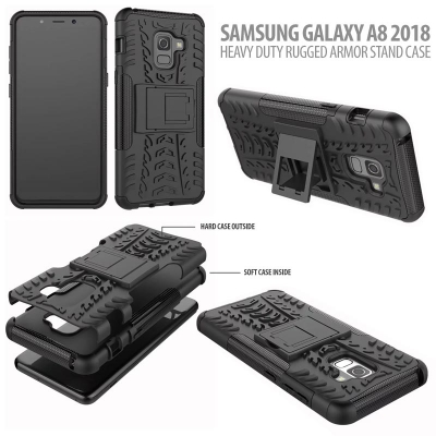 ^ Samsung Galaxy A8 2018 - Heavy Duty Rugged Armor Stand Case }