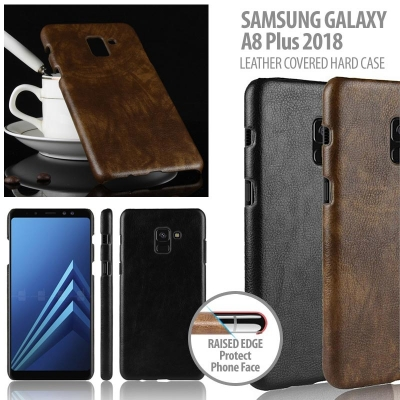 ^ Samsung Galaxy A8+ 2018 - Leather Covered Hard Case