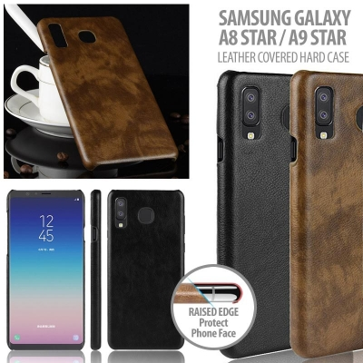 ^ Samsung Galaxy A8 Star / A9 Star - Leather Covered Hard Case