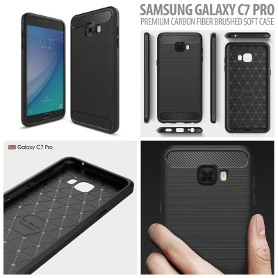^ Samsung Galaxy C7 Pro - PREMIUM Carbon Fiber Brushed Soft Case