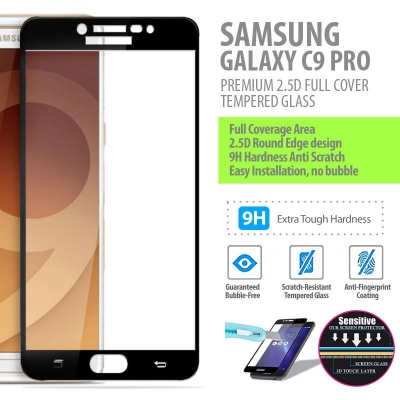 ^ Samsung Galaxy C9 Pro - PREMIUM 2.5D Full Cover Tempered Glass