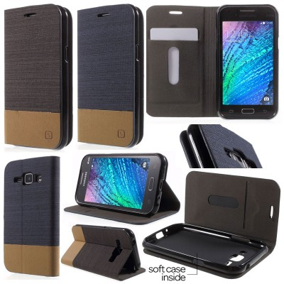 * Samsung Galaxy J1 - Canvas Pocket Leather Case