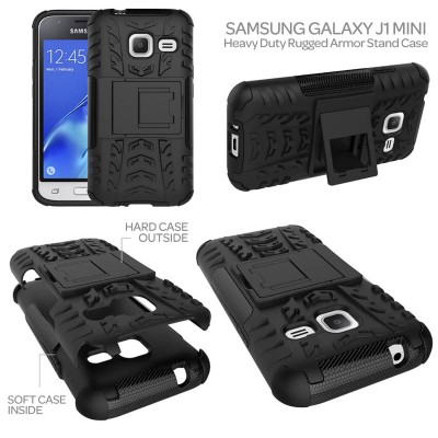 ^ Samsung Galaxy J1 Mini - Heavy Duty Rugged Armor Stand Case