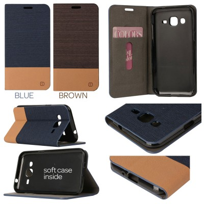 * Samsung Galaxy J2 - Canvas Pocket Leather Case