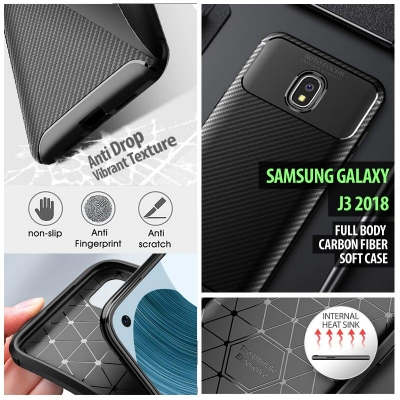 ^ Samsung Galaxy J3 2018 - Full Body Carbon Fiber Soft Case