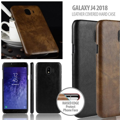 ^ Samsung Galaxy J4 2018 - Leather Covered Hard Case