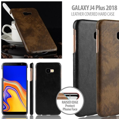 ^ Samsung Galaxy J4 Plus 2018 - Leather Covered Hard Case