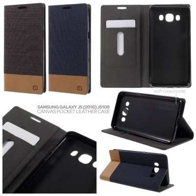 * Samsung Galaxy J5 2016 J5108 - Canvas Pocket Leather Case