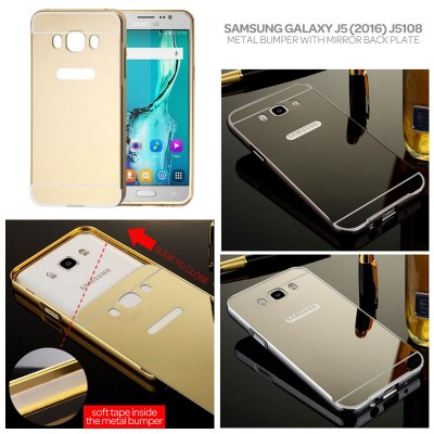 ^ Samsung Galaxy J5 2016 J5108 - Mirror Metal Bumper With Back Plate