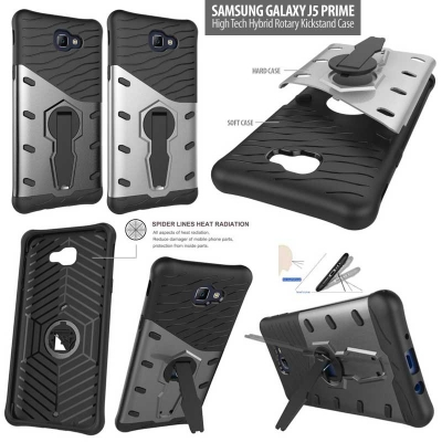 ^ Samsung Galaxy J5 Prime - High Tech Hybrid Rotary Kickstand Case }