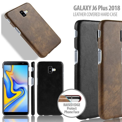 ^ Samsung Galaxy J6 Plus 2018 - Leather Covered Hard Case