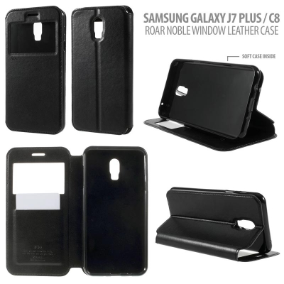 ^ Samsung Galaxy J7 Plus / C8 - Roar Noble Window Leather Case }