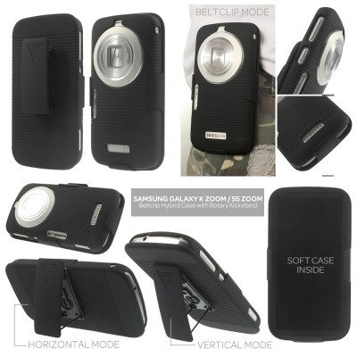 * Samsung Galaxy K Zoom S5 Zoom C111 C115 - Beltclip Hard Case with Rotary Kickstand }