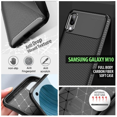 ^ Samsung Galaxy M10 - Full Body Carbon Fiber Soft Case