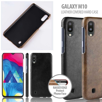 ^ Samsung Galaxy M10 - Leather Covered Hard Case