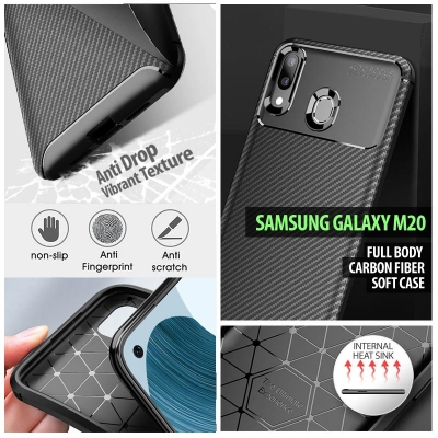 ^ Samsung Galaxy M20 - Full Body Carbon Fiber Soft Case