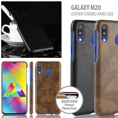 ^ Samsung Galaxy M20 - Leather Covered Hard Case