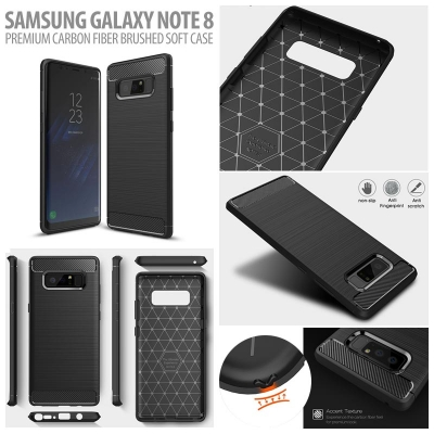 ^ Samsung Galaxy Note 8 - PREMIUM Carbon Fiber Brushed Soft Case }