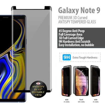 ^ Samsung Galaxy Note 9 - PREMIUM 3D Curved Anti Peep Antispy Tempered Glass