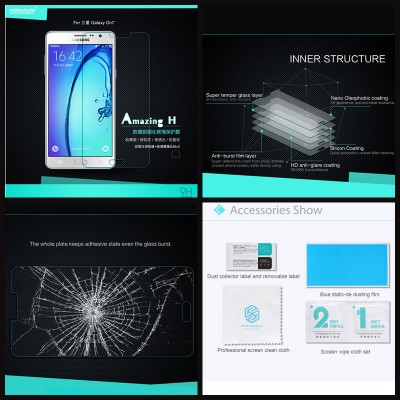 ^ Samsung Galaxy On7 - Nillkin Anti-Explosion H Tempered Glass Screen Protector
