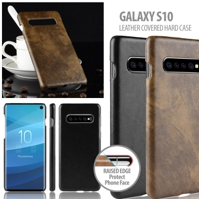 ^ Samsung Galaxy S10 - Leather Covered Hard Case