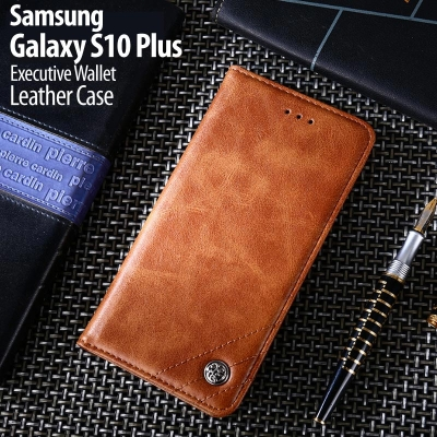 ^ Samsung Galaxy S10 Plus - Executive Wallet Leather Case