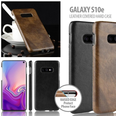 ^ Samsung Galaxy S10e - Leather Covered Hard Case