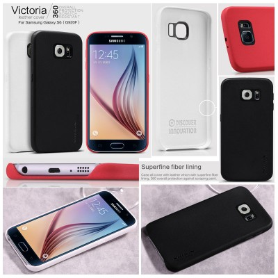 ^ Samsung Galaxy S6 G920 - Nillkin Victoria Leather Full Covered Hard Case