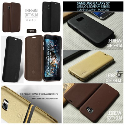 ^ Samsung Galaxy S7 Flat - Lenuo LeDream Soft Grip Leather with Hard Case Inside