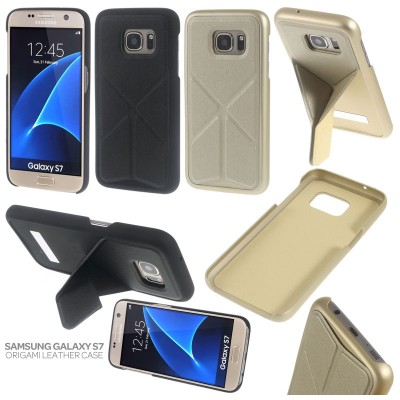 * Samsung Galaxy S7 Flat - Origami Stand Leather Case