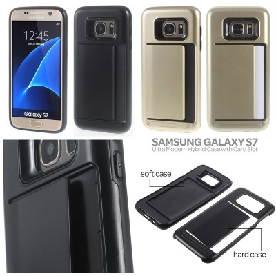 * Samsung Galaxy S7 Flat - Ultra Modern Hybrid Case with Card Slot